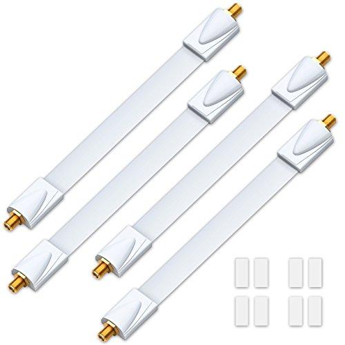 deleyCON 4X Fensterdurchführungen SAT Kabel 17cm Flexibel 26cm Länge Kupplung Fenster & Türen Vergoldet Extrem Flach Geschirmt Klebepads - Weiß