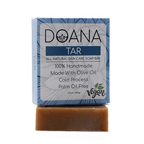 Tar Soap Bar - VEGAN With Olive Oil and Coconut Oil, Palm Oil Free, Antiseptic, It Kills the Microbes, Helps Treats Eczema and Psoriasis, Effective Against Acne, Effective Against Skin Rashes