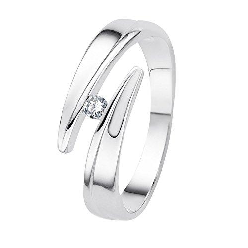 Diamond Line Damen-Ring 375er Weißgold 1 Diamant ca. 0,05 ct.