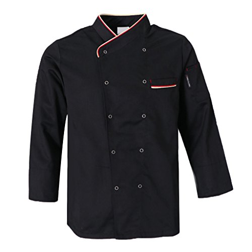 Bonarty Kochjacke Bäckerjacke Langarm Kochhemd Arbeitsjacke Herren Damen Chefjacke Koche Küche Bäcker Kochkleidung - Schwarz, XL