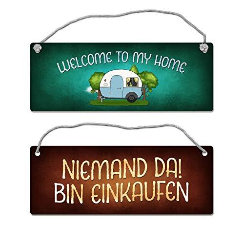 trendaffe - Welcome to My Home oder Bin einkaufen Wendeschild mit Kordel Wohnwagen Camping