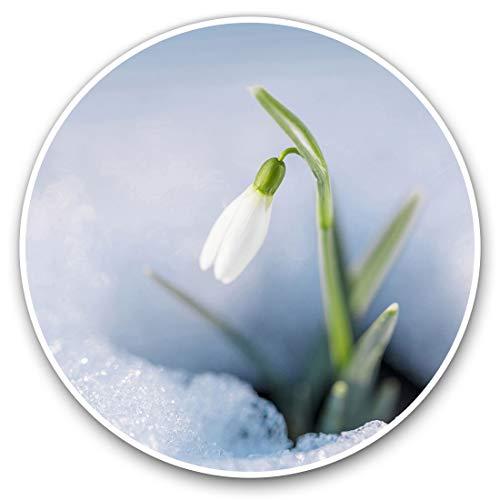 Pegatinas de vinilo (juego de 2) 10 cm, bonitas pegatinas de flores de gota de nieve para portátiles, tabletas, equipaje, reserva de chatarra, neveras, 2063