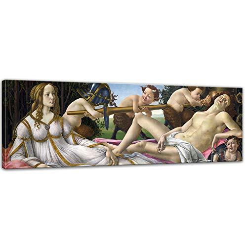 Bilderdepot24 Keilrahmenbild Sandro Botticelli Venus und Mars - 160x50cm Panorama quer - Renaissance Mythologische Malerei griechische Antike