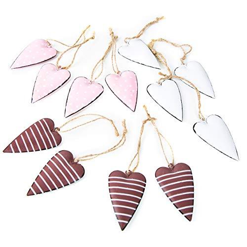 12 kleine Herzen Anhänger zum Aufhängen rosa dunkel rot gestreift pink gepunktet Metall Blech Herzanhänger Hänger Ostern Deko Osteranhänger Blechherz