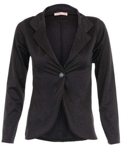 KRISP Smart Casual Stoff Fashion Blazer (Schwarz, Gr.36) (3558-BLK-08)
