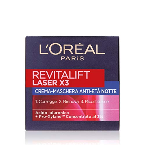 L'Oréal Paris Crema Viso Notte Revitalift Laser X3, Azione Antirughe Anti-Età con Acido Ialuronico e Pro-Xylane, 50ml