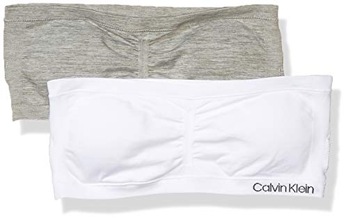 Calvin Klein Girls' Bandeau Bra, White/Heather Grey - 2 Pack, Large
