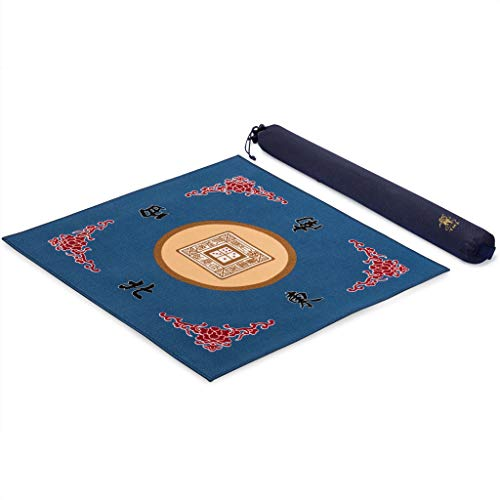 Yellow Mountain Imports Table Cover for Mahjong, Poker, Card Games, Board Games, Tile Game, and Dominoes - 30.7 Inches - Roll-up Gaming Mat with Carrying Bag