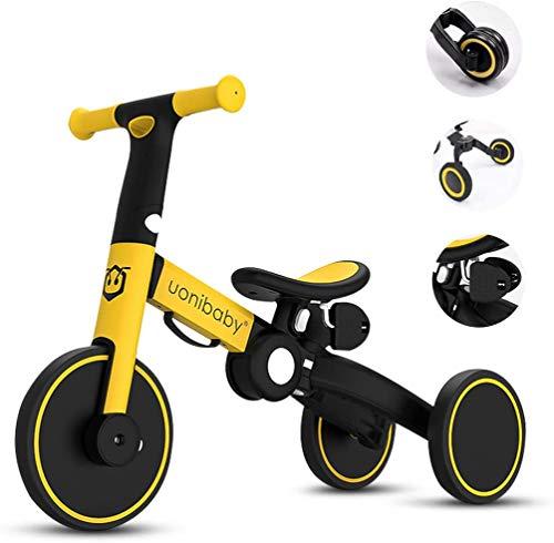 Ellyeall Trike mit Eltern Griff, Falten 5 in 1 Laufrad Strider Bike Leicht mit verstellbarem Sitz Soft Grip für 2-6 Jahre Junger Mädchen,Gelb,A