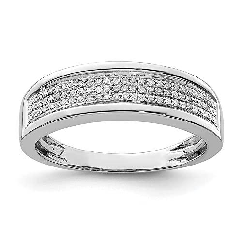 Anillo de compromiso de plata de ley con diamante de media eternidad para hombre (0,20 quilates, H-SI2)