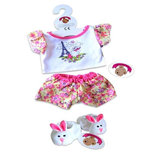 Build Your Bears - Vestito per Orsetto di pezza da 35-40 cm, Motivo: Candy Paris / Pigiama