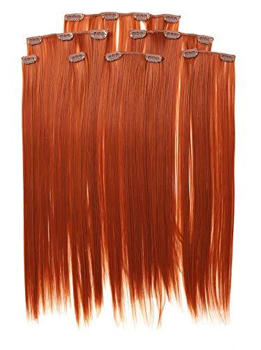 Prettyland 7-teilg SET Statik-frei Clip-In 50cm glatt lang-Haar strähnen Haarteil Haarverlängerung orange Kupfer-Rot R01