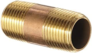 Anderson Metals 38300 Lead Free Red Brass Pipe Fitting, Nipple, 3/8