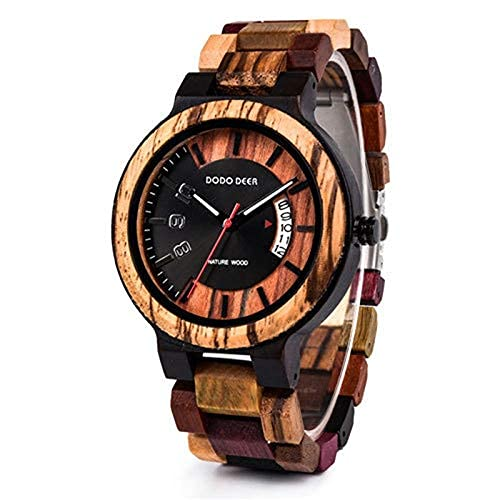 NZDY Reloj de madera para hombre Reloj de cuarzo para hombre Reloj de pulsera personalizado grabado con reloj,B