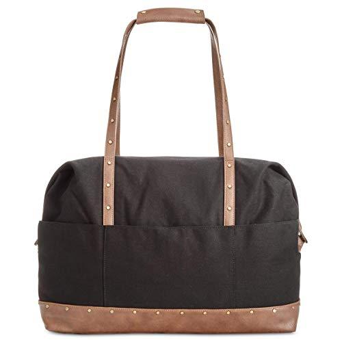 Style & Co. Womens Faux Leather Satchel Duffle Handbag Black Extra Large