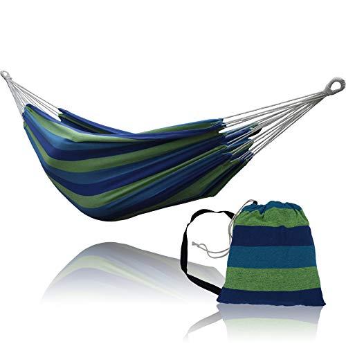 SUNNY GUARD Amaca brasiliana doppia per 2 persone in tessuto di cotone con borsa da trasporto per patio, veranda, giardino, cortile, uso interno ed esterno,Blu-verde