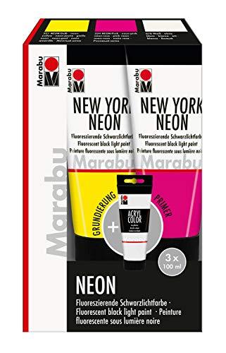 Marabu 1266000000203 - Acryl Color Set New York Neon, 3 x 100 ml in neon gelb, neon pink und weiß (als Grundierung), fluoreszierende Schwarzlicht- bzw. Tagesleuchtfarbe, zum Pinseln und Tupfen