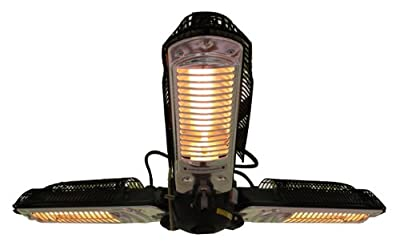 Fire Sense Umbrella Halogen Patio Heater | Steel Construction | 3 Heating Heads | 3 x 500 Watts | Standard 110V Household Current | Suitable for Indoor and Outdoor Use | 8 Foot Non Retractable Cord
