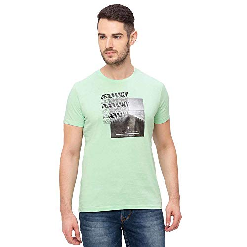 Being Human Half Sleeves Cotton Regular Fit Mens T-Shirt (S21BHTS21101M004, Green, Large)