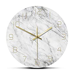 gongyu Wall Clock Modern Quartz Analog Quiet Marble Wall Clock 3D Chic White Marble Print Modern Round Wall Watch Nordic Creative Home Decor Fashion Suitable for Living Room Bedroom