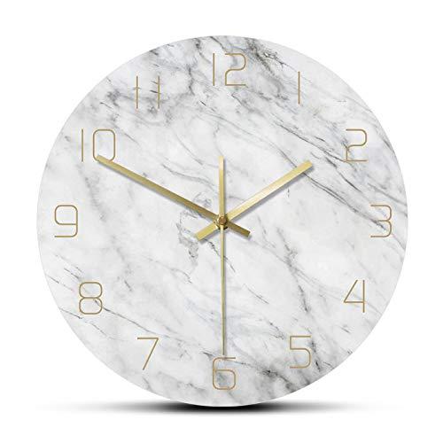 yage Reloj de Pared de mármol silencioso analógico de Cuarzo Reloj de Pared Redondo Moderno con Estampado de mármol Blanco Elegante 3D Decoración Creativa para el hogar Moda