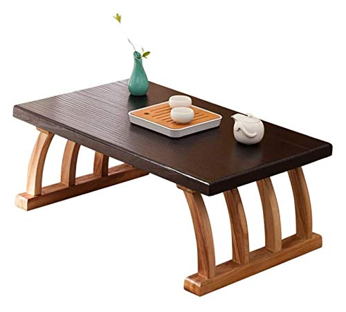 Mesa baja Mesa baja Escritorio de la computadora de tatami Altura, Mesa baja de tatami de té japonés Zen simples de la casa de la ventana de madera sólida del Mini Ventana pequeño café Regalos para am