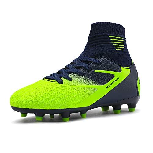 DREAM PAIRS Jungen Mädchen Leichte Fußballschuhe Kinder Atmungsaktive Football Schuhe Dunkelblau Neongrün Größe 2 US Little Kid / 33 EU HZ19002K