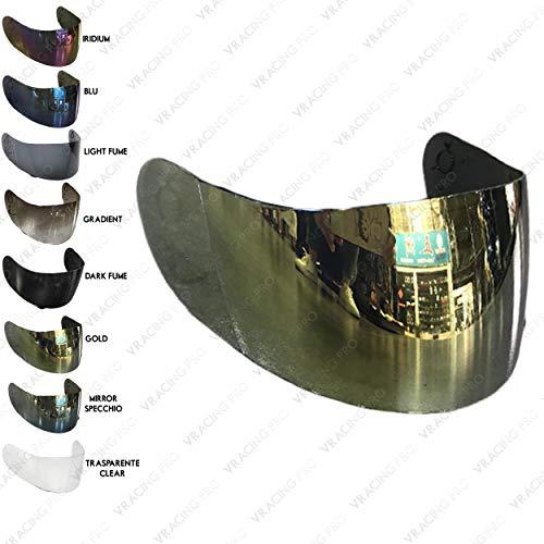 VRacing Visiera AGV S-4, Ti-Tech, Stealth, Mirage, Airtech, Daystar, Gp-Pro, X-Vent, V-Flyer, Syncro, Bolt, Ghost Trasparente Fume Blu Oro Iridium Aftermarket (Oro)
