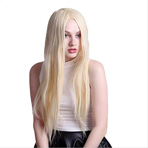 Europäische und amerikanische Mode Chemiefaser Perücke Dame langes glattes Haar Reis weiß cos afrikanisches Schwarz