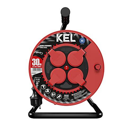 KEL -ELECTRIC - Tambor de cable con 30 m de cable de goma 3 x 1,5 mm², 230 V/16 A, cable alargador de plástico con 4 enchufes de protección IP44
