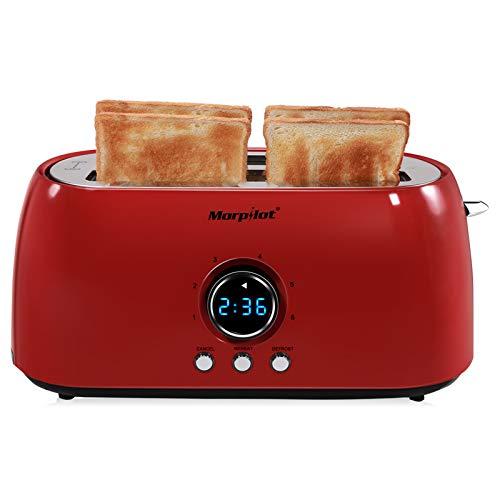Morpilot Toaster 4 Scheiben Langschlitz Toaster Edelstahl Langschlitztoaster mit Krümelschublade, 6 Stufen, Led Anzeige für Große Toastscheiben Brötchen Baguette, Vintage Retro Rot Platzsparend