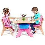 COSTWAY Set Tavolo e Sedie per Bambini, 1 Tavolino e 2 Sedie, capacità di Peso 80kg, Contenitore Smontabile, Facile da Montare, Colorato