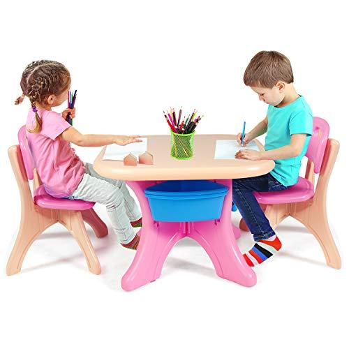 DREAMADE Set Tavolo e Sedie per Bambini, 1 Tavolino e 2 Sedie, Tavolo da Gioco Bambini con Contenitore Smontabile, Set di Mobili Colorato per Bambini con capacità di Peso 80kg(Rosa)