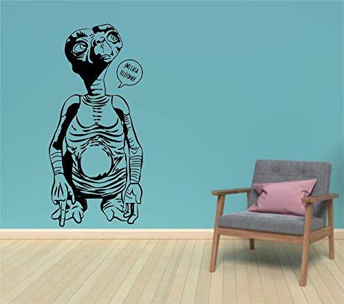Vinilo decoratívo E.T, el Extraterrestre,Cine,calcomanía,habitación de los niños,decoración del hogar,Etiqueta engomada,Pegatina de Pared,Color Negro,Medida 57X120 CM.