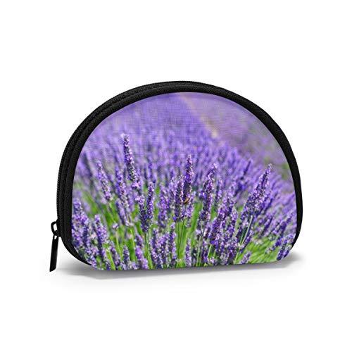 Oxford Cloth Lavender Purple Plant Coin Purse Small Zipper Wallet Bag Change Pouch Mini Cosmetic Makeup Bags Organizer Multipurpose Pouches