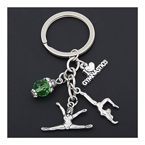 YUNGYE 1pc New I Love Gymnastik Schlüsselanhänger Herz Turnerin Anhänger Schlüsselanhänger Ring Schlüsselanhänger Kreative Geschenke Frauen