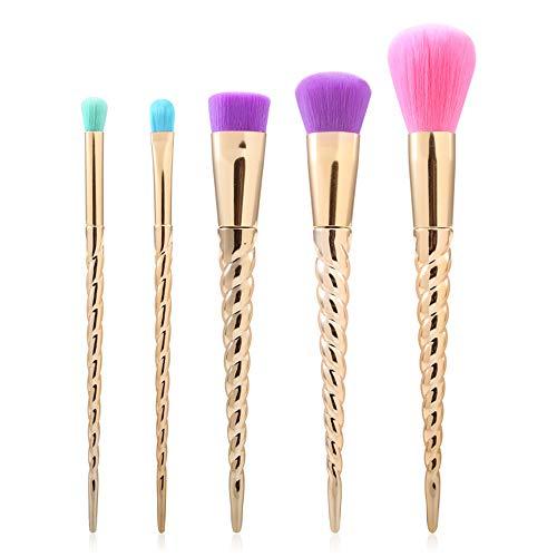 Pinceaux de maquillage femmes Pinceau de maquillage mis en or nouvelle poignée en spirale pinceau de maquillage en spirale poignée pinceau de maquillage coloré (5pcs) Doux