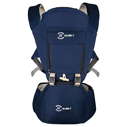 Ergonosmische Baby Trage, Tragegurt mit Sitzkissen. Babytrage ab Geburt - Rücken- und Bauchtrage Baby Carrier mit Kopfstürze. Breiter Tragegurt schont den Rücken und Hüfte, 7 Tragepositionen (Blau)