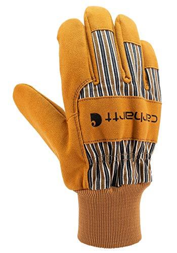 Carhartt Men's Suede Work Glove with Knit Cuff, Brown, Medium
