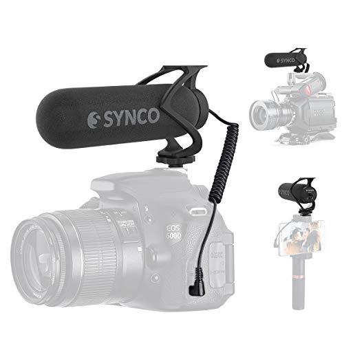 Synco Richtmikrofon Kamera Mikrofon Shotgun DSLR Video Mikrofon Externes Mic Kondensator für Videos Super-Kardioid mit Windschutz Blitzschuh für Canon Sony Nikon Panasonic Camcorder Smartphone Mic-M2