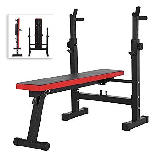 Bänkpress med Styrketräning Bed Home fitness skivstång fäste Multifunktionell knäböj skyddsram träningsredskap (Color : Black, Size : 120 * 58*(80~105) cm)