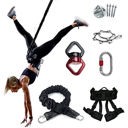 Cuerda de Bungee Yoga, Conjunto de cinturón de resistencia de cuerda elástica de yoga profesional Cuerda elástica de yoga antigravedad aérea Trapeze Dancer Home Gym Entrenamiento físico,Negro,140KG
