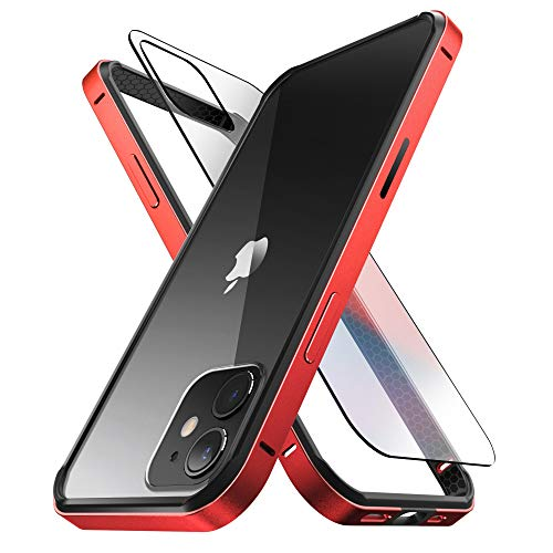 SUPCASE Unicorn Beetle Edge Series Case Designed for iPhone 12 / iPhone 12 Pro (2020 Release) 6.1 Inch, Slim Metal Frame Case with TPU Inner Bumper & Transparent (Red)