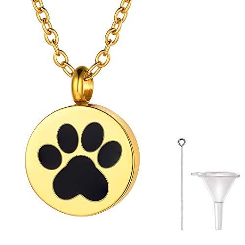 Richsteel Colgante Ceniza Mascota Perro Collar de Oro Dorado para Mujer Hombre Colgante Cenizas Animales Collar de guardapelo