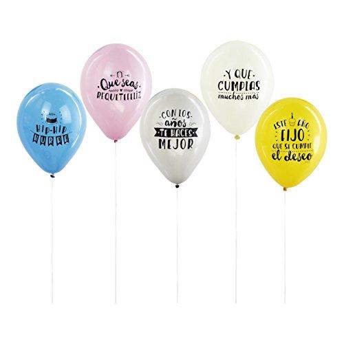 Mr Wonderful 10 Globos Para Cumpleaños Molones, Multicolor, 10.00X10.00X10.00 Cm (Set De 10 )