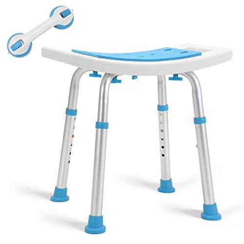 Health Line Massage Products Shower Stool 350lbs Bath Seat Chair, Tool-Free Assembly Height Adjustable Bath Bench w/Paded Seat and Assist Grab Bar for Seniors, Elderly, Disabled, Handicap and Injured