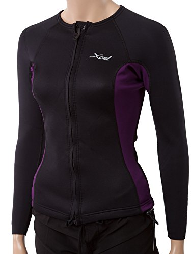 XCEL Women's Longsleeve Wetsuit Jacket w/Cinch Cord 10 Black/Eggplant