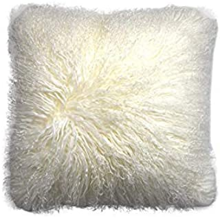ROSE FEATHER Real 100% Tibetan Mongolian Lamb Sheepskin Wool Fur Super Soft Plush Leather Pillowcase Cushion Cover,White 18x18inch