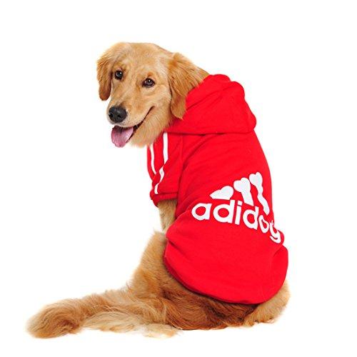 Idepet Cotton Adidog Large Dog Clothes, 4XL, Red