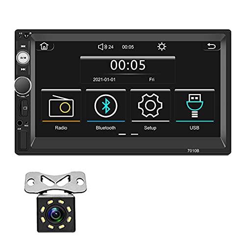 Radio Coche Bluetooth con Apple Carplay - Autoradio con 7 Pulgadas Pantalla - MP5/4 Reproductor con Cámara de Respaldo Apoyo USB/AUX Input/Subwoofer/Manos Libres,7inch
